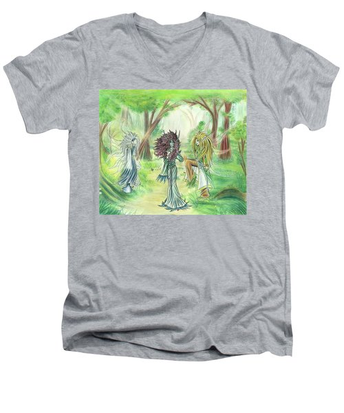 Men's V-Neck T-Shirt featuring the painting The Fae - Sylvan Creatures Of The Forest by Shawn Dall