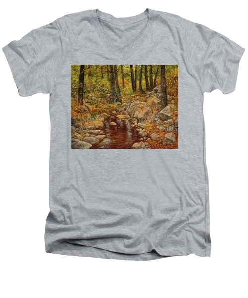 Men's V-Neck T-Shirt featuring the painting The Fall Stream by Roena King