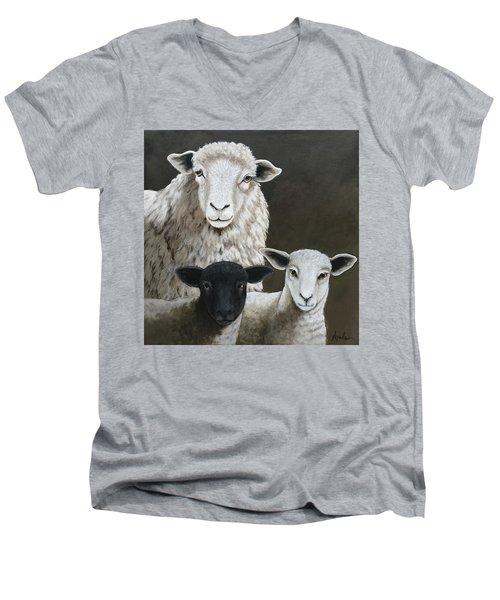 The Family - Sheep Oil Painting Men's V-Neck T-Shirt