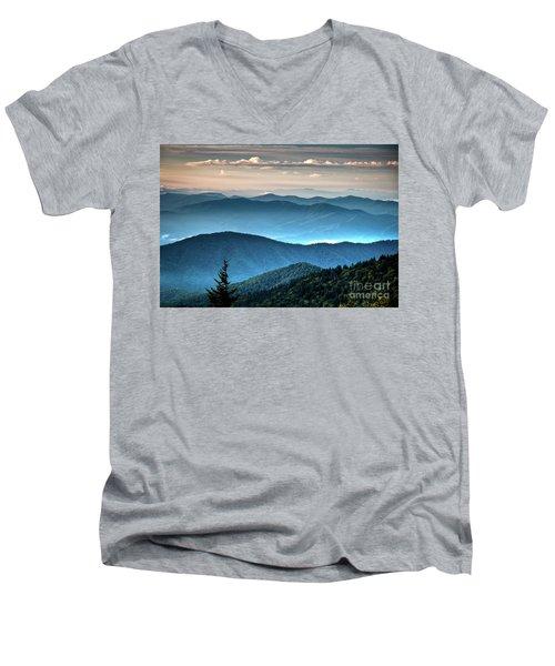 The Far Blue Smoky Mtns. Men's V-Neck T-Shirt