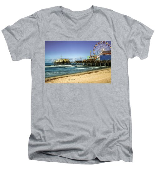 The Ferris Wheel - Santa Monica Pier Men's V-Neck T-Shirt
