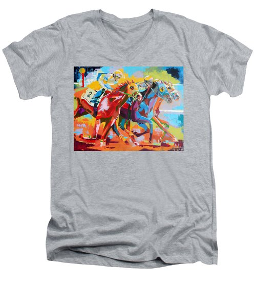The Finishing Post- Large Work Men's V-Neck T-Shirt