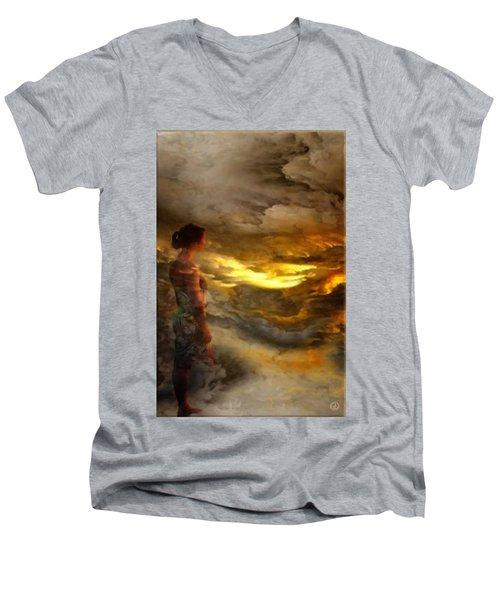 The First Step Men's V-Neck T-Shirt by Gun Legler