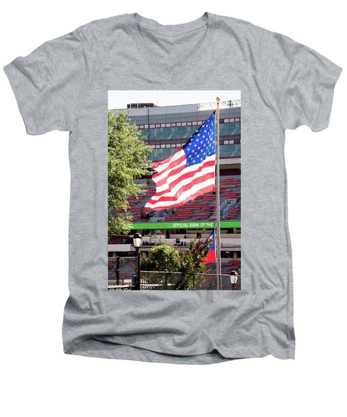 Men's V-Neck T-Shirt featuring the photograph The Flag Flying High Over Sanford Stadium by Parker Cunningham