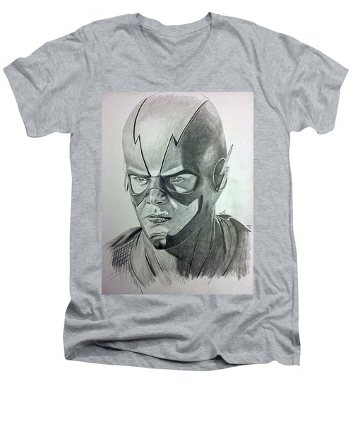 Men's V-Neck T-Shirt featuring the drawing The Flash by Michael McKenzie
