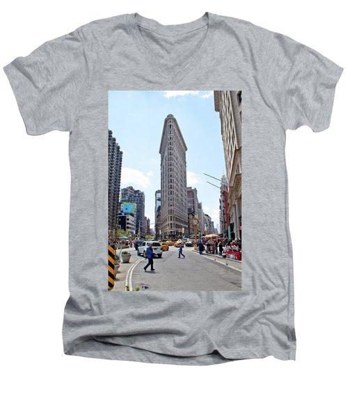 The Flatiron Building Men's V-Neck T-Shirt by Jean Haynes