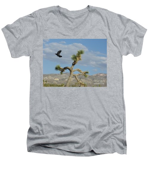 Men's V-Neck T-Shirt featuring the photograph The Flight Of Raven. Lucerne Valley. by Ausra Huntington nee Paulauskaite