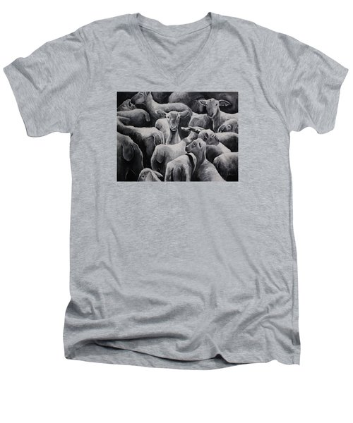 Flock 17 Men's V-Neck T-Shirt by Jean Cormier