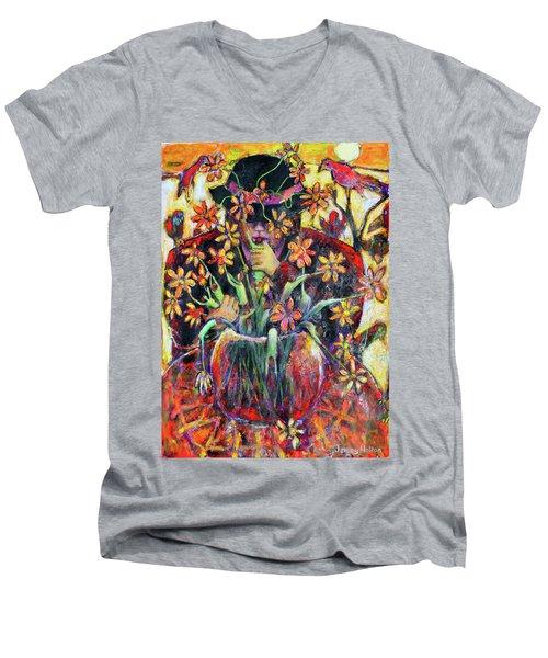 The Flower Arranger Men's V-Neck T-Shirt