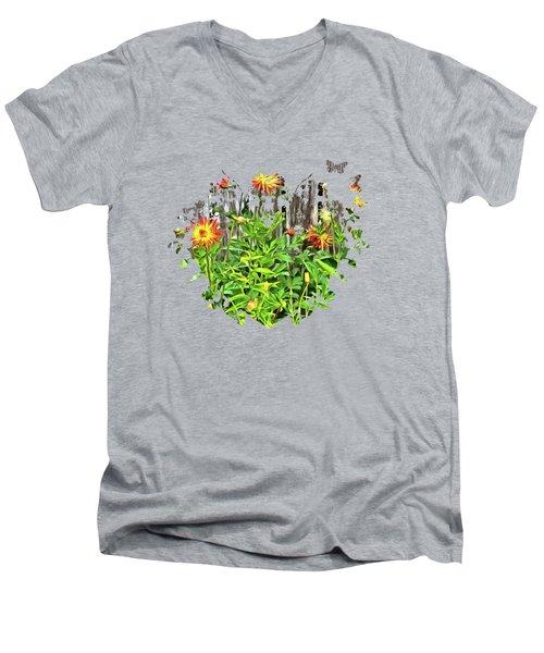 The Flowers Along The Fence  Men's V-Neck T-Shirt