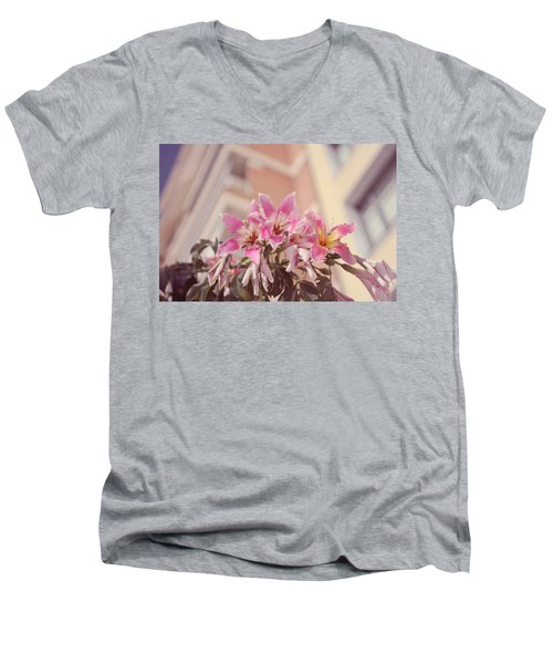 Men's V-Neck T-Shirt featuring the photograph The Flowers Of Malaga by Jenny Rainbow