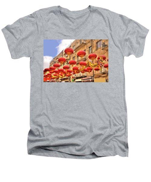 The Flying Dragon Men's V-Neck T-Shirt by Uri Baruch