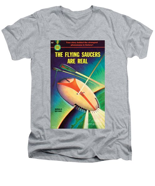 The Flying Saucers Are Real Men's V-Neck T-Shirt by Frank Tinsley