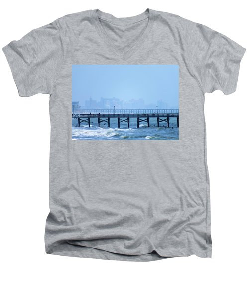 Men's V-Neck T-Shirt featuring the photograph The Fog And Swirling Waters by Cathy Harper