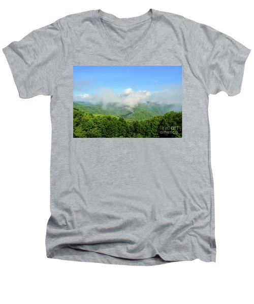 Men's V-Neck T-Shirt featuring the photograph The Fog Rises Over The Bluestone Gorge - Pipestem State Park by Kerri Farley