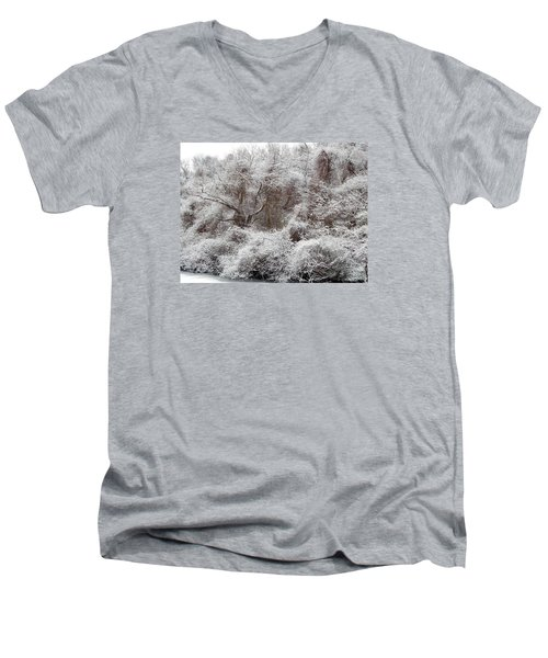 Men's V-Neck T-Shirt featuring the photograph The Forest Hush by Lynda Lehmann