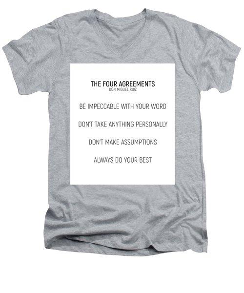 The Four Agreements #minismalism #shortversion Men's V-Neck T-Shirt