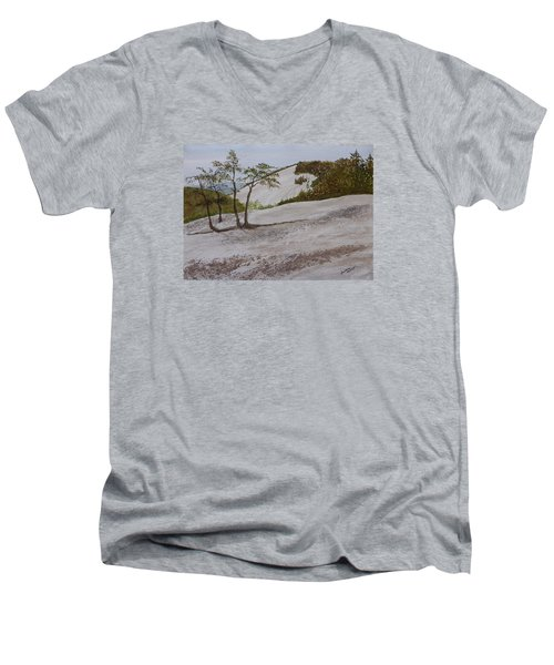 The Four Sisters At Stone Mountain Men's V-Neck T-Shirt by Joel Deutsch