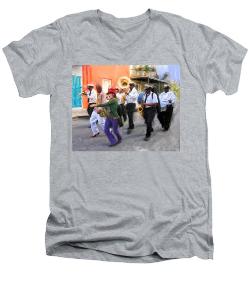 The French Quarter Shuffle Men's V-Neck T-Shirt by Dominic Piperata