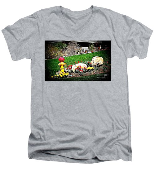 Men's V-Neck T-Shirt featuring the photograph The Gardener by Richard W Linford