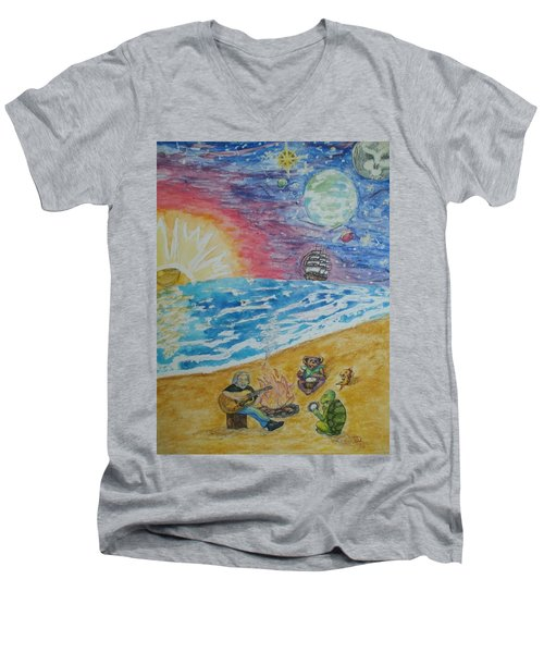 Men's V-Neck T-Shirt featuring the painting The Gathering by Thomasina Durkay