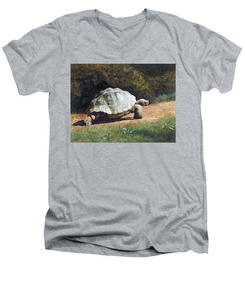 The Giant Tortoise Is Walking Men's V-Neck T-Shirt