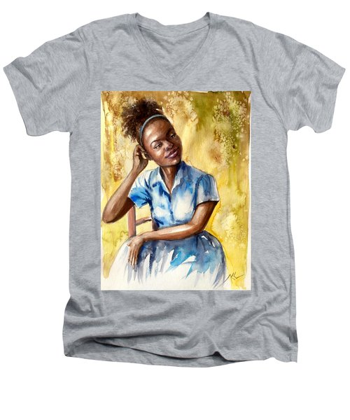 The Girl With The Blue Dress Men's V-Neck T-Shirt