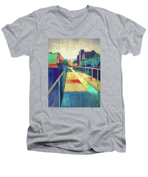 The Glass Bridge Men's V-Neck T-Shirt by Steven Llorca