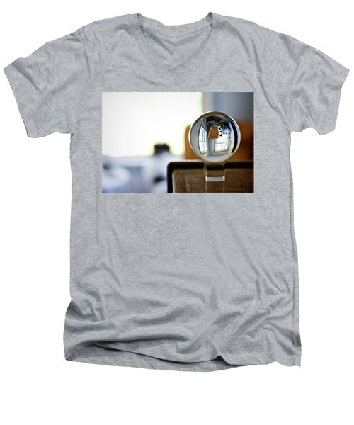 The Globe With Dog Men's V-Neck T-Shirt