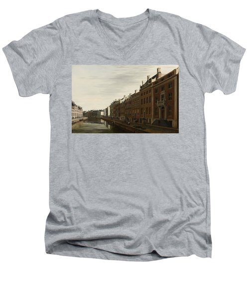 The Golden Bend In The Herengracht, Amsterdam, Seen From The West, 1672 Men's V-Neck T-Shirt
