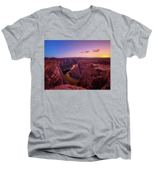 Men's V-Neck T-Shirt featuring the photograph The Golden Canyon by Edgars Erglis