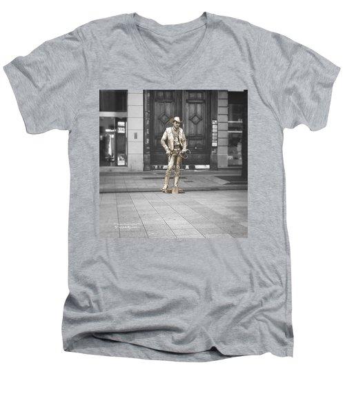 Men's V-Neck T-Shirt featuring the photograph The Golden Cowboy by Stwayne Keubrick