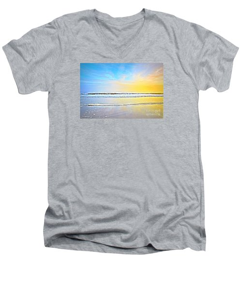 Men's V-Neck T-Shirt featuring the photograph The Golden Hour by Shelia Kempf
