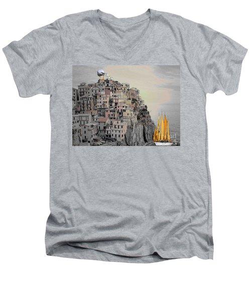 The Golden Sails Men's V-Neck T-Shirt by Mojo Mendiola