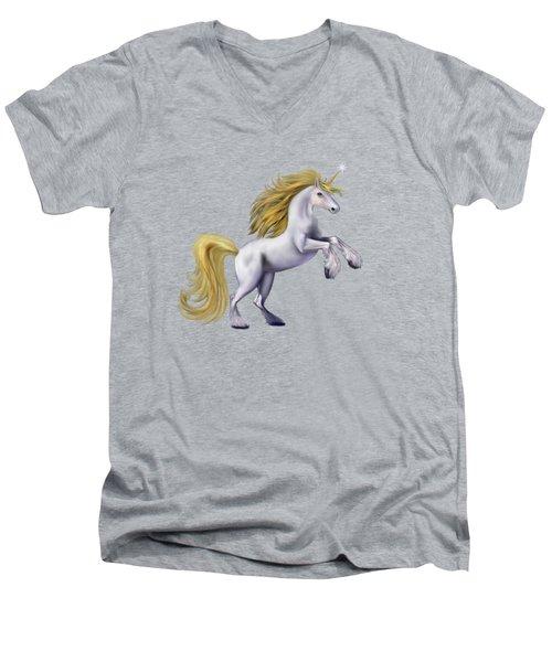 The Golden Unicorn Men's V-Neck T-Shirt by Glenn Holbrook