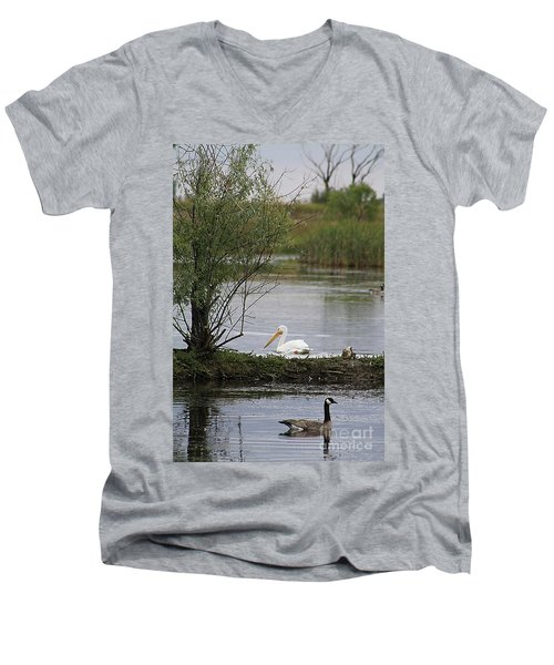 Men's V-Neck T-Shirt featuring the photograph The Goose And The Pelican by Alyce Taylor