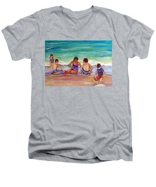 The Grands Men's V-Neck T-Shirt by Patricia Piffath