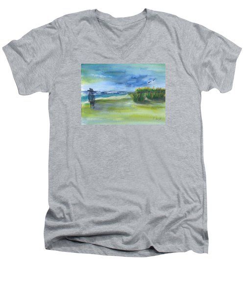 Men's V-Neck T-Shirt featuring the mixed media The Gray Man Visits Pawleys Island Sc by Frank Bright
