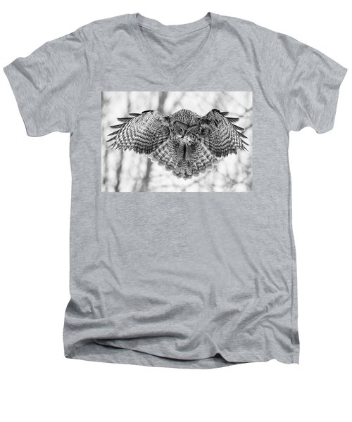 Men's V-Neck T-Shirt featuring the photograph The Great Grey Owl In Black And White by Mircea Costina Photography