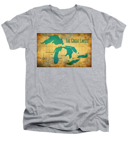 The Great Lakes Men's V-Neck T-Shirt by Greg Sharpe