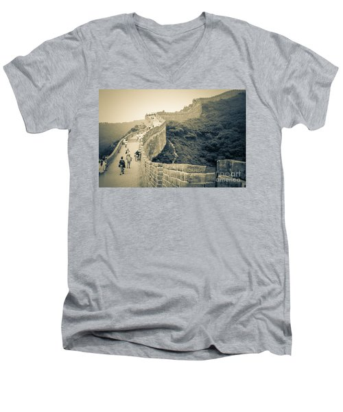 Men's V-Neck T-Shirt featuring the photograph The Great Wall Of China by Heiko Koehrer-Wagner