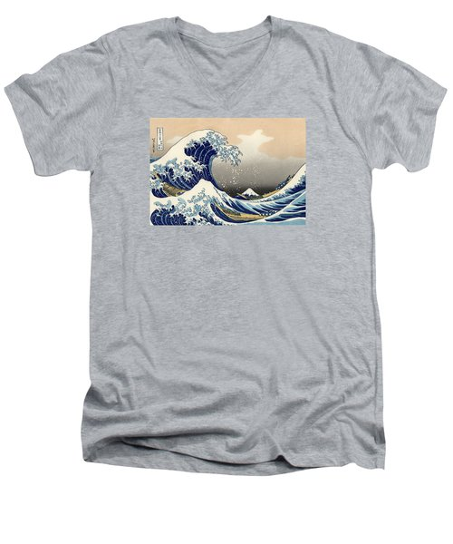 The Great Wave Off Kanagawa Men's V-Neck T-Shirt by Katsushika Hokusai