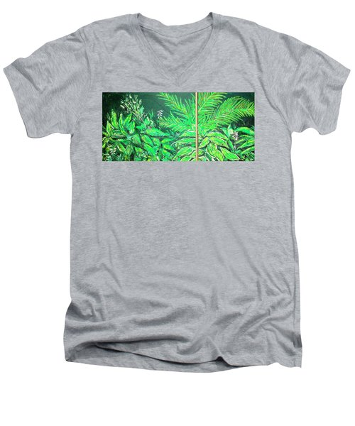 Men's V-Neck T-Shirt featuring the painting The Green Flower Garden by Darren Cannell