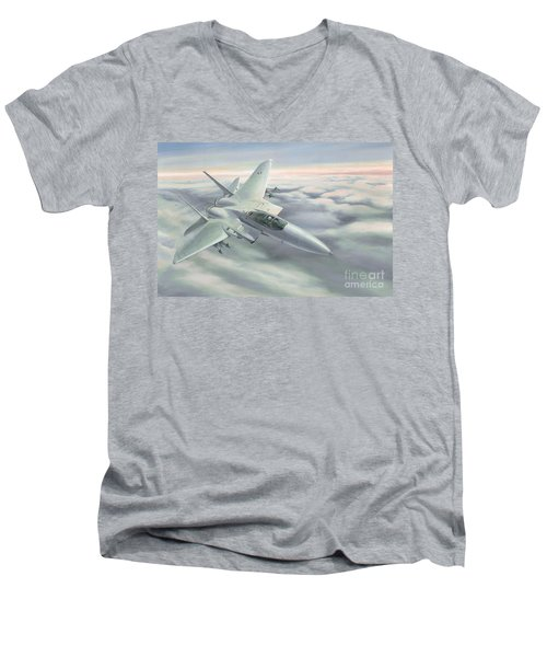 Men's V-Neck T-Shirt featuring the painting The Grey Ghost by Michael Swanson