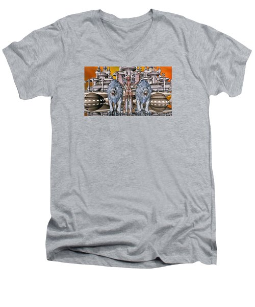 The Guardians Of The City Men's V-Neck T-Shirt by Louis Ferreira