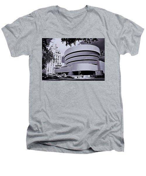 The Guggenheim Black And White Men's V-Neck T-Shirt