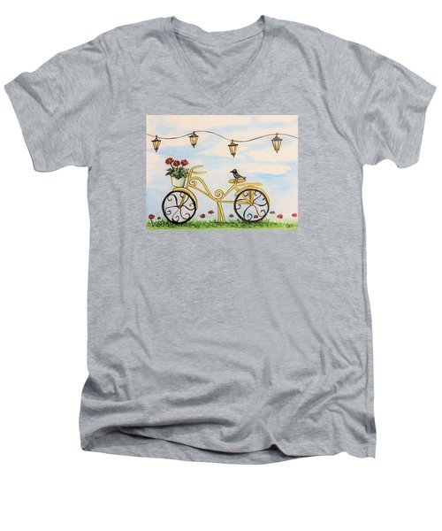 The Happy Yellow Bicycle Men's V-Neck T-Shirt by Elizabeth Robinette Tyndall