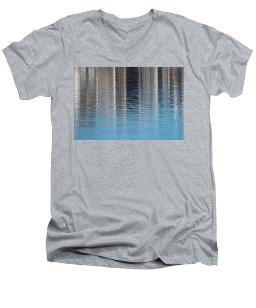 Men's V-Neck T-Shirt featuring the photograph The Harbor Reflects by Karol Livote