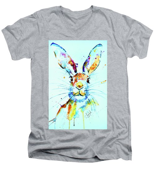 Men's V-Neck T-Shirt featuring the painting The Hare by Steven Ponsford