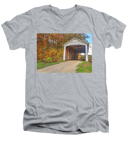 Men's V-Neck T-Shirt featuring the photograph The Harry Evans Covered Bridge by Harold Rau